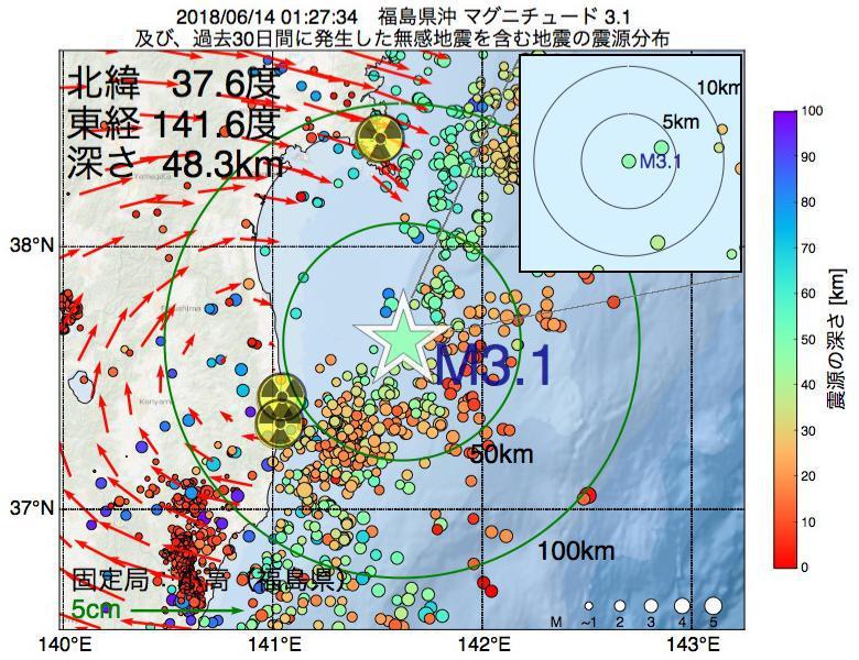 地震震源マップ:2018年06月14日 01時27分 福島県沖でM3.1の地震