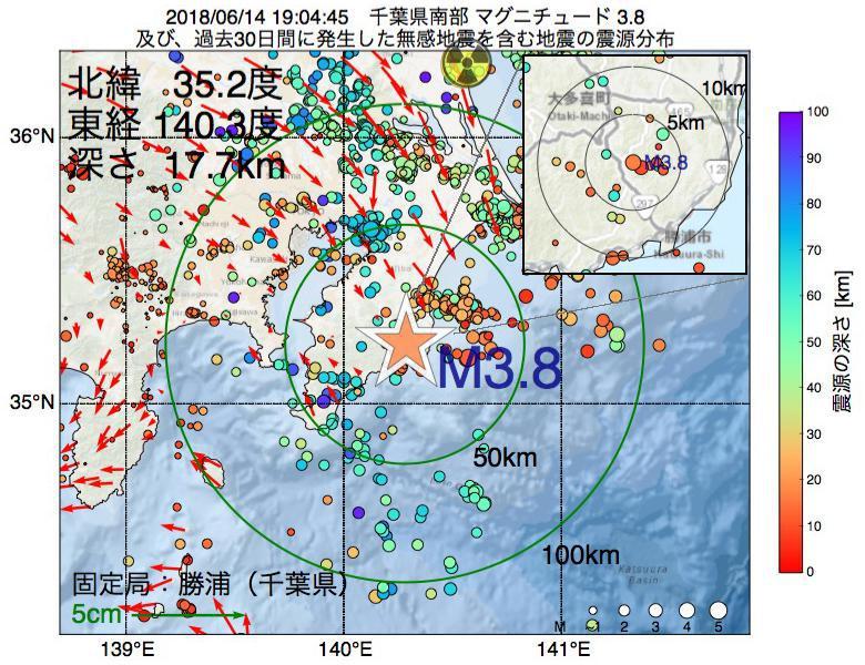 地震震源マップ:2018年06月14日 19時04分 千葉県南部でM3.8の地震
