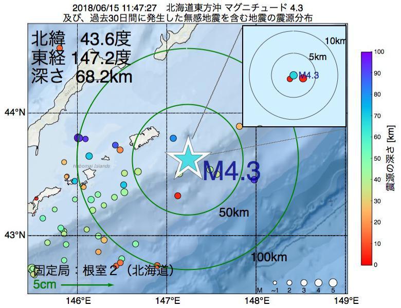 地震震源マップ:2018年06月15日 11時47分 北海道東方沖でM4.3の地震