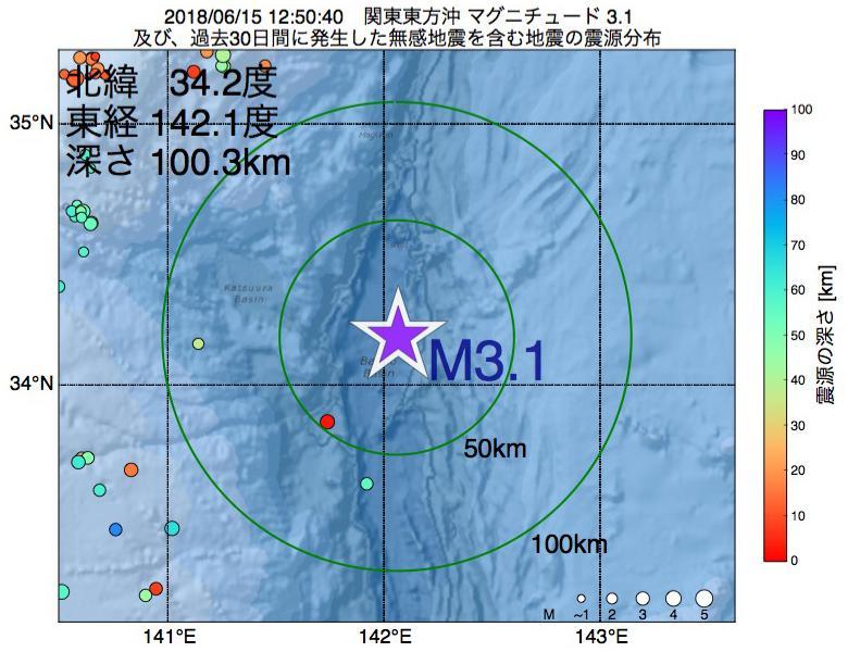 地震震源マップ:2018年06月15日 12時50分 関東東方沖でM3.1の地震