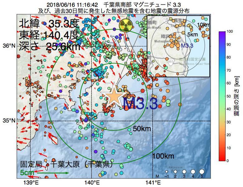 地震震源マップ:2018年06月16日 11時16分 千葉県南部でM3.3の地震