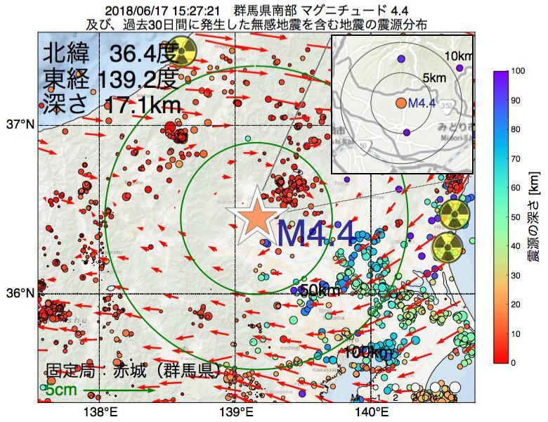 地震震源マップ:2018年06月17日 15時27分 群馬県南部でM4.4の地震