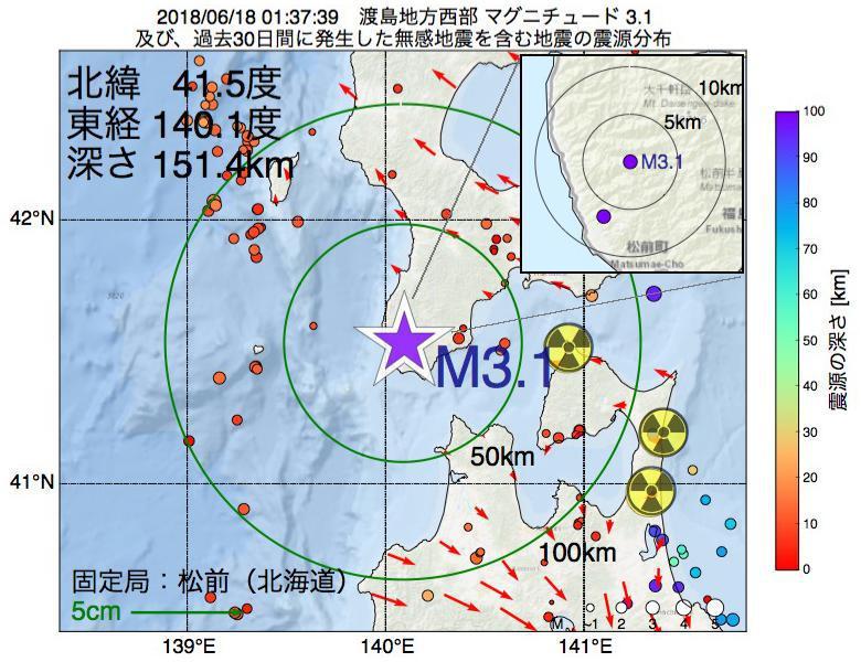 地震震源マップ:2018年06月18日 01時37分 渡島地方西部でM3.1の地震