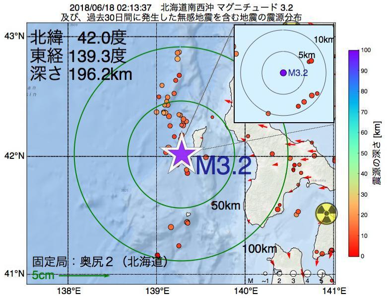 地震震源マップ:2018年06月18日 02時13分 北海道南西沖でM3.2の地震