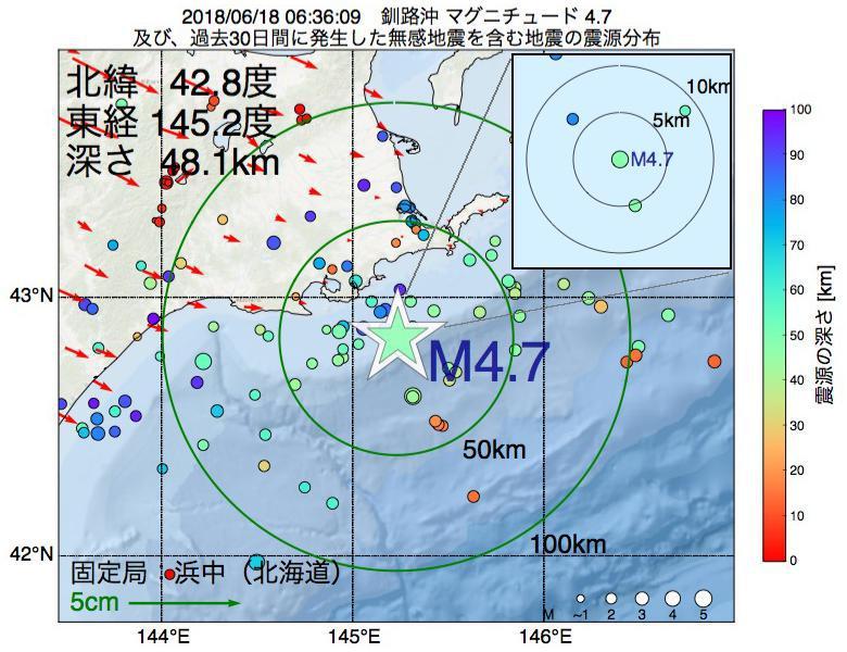地震震源マップ:2018年06月18日 06時36分 釧路沖でM4.7の地震