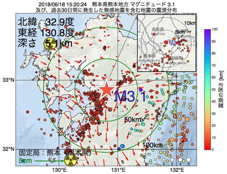 地震震源マップ:2018年06月18日 15時20分 熊本県熊本地方でM3.1の地震