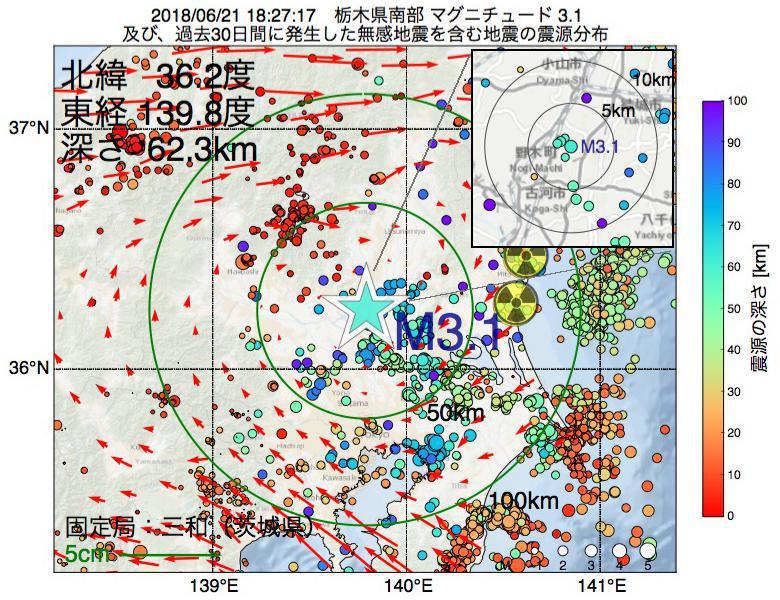 地震震源マップ:2018年06月21日 18時27分 栃木県南部でM3.1の地震
