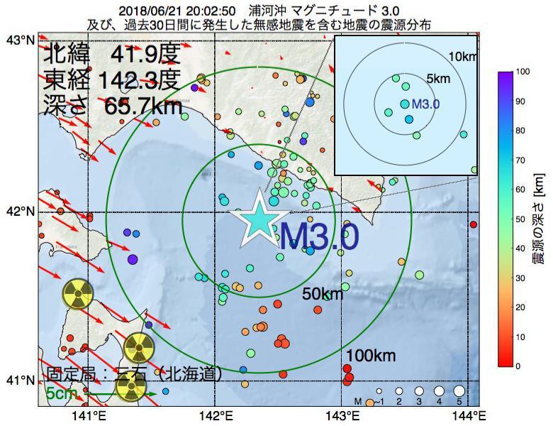地震震源マップ:2018年06月21日 20時02分 浦河沖でM3.0の地震