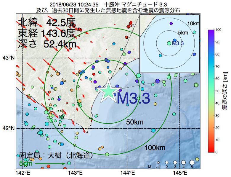地震震源マップ:2018年06月23日 10時24分 十勝沖でM3.3の地震