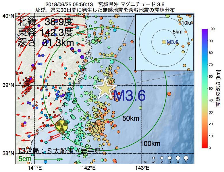 地震震源マップ:2018年06月25日 05時56分 宮城県沖でM3.6の地震