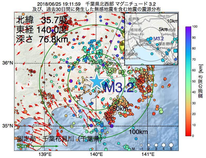 地震震源マップ:2018年06月25日 19時11分 千葉県北西部でM3.2の地震