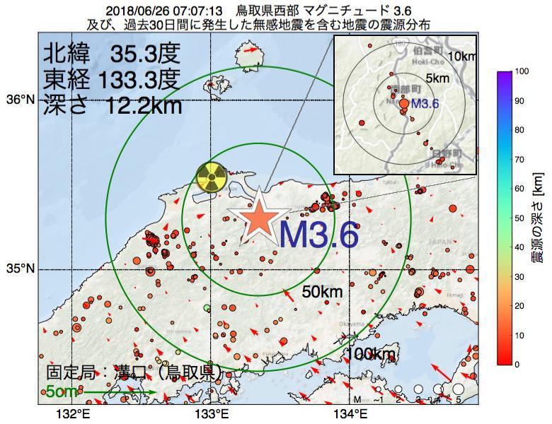 地震震源マップ:2018年06月26日 07時07分 鳥取県西部でM3.6の地震