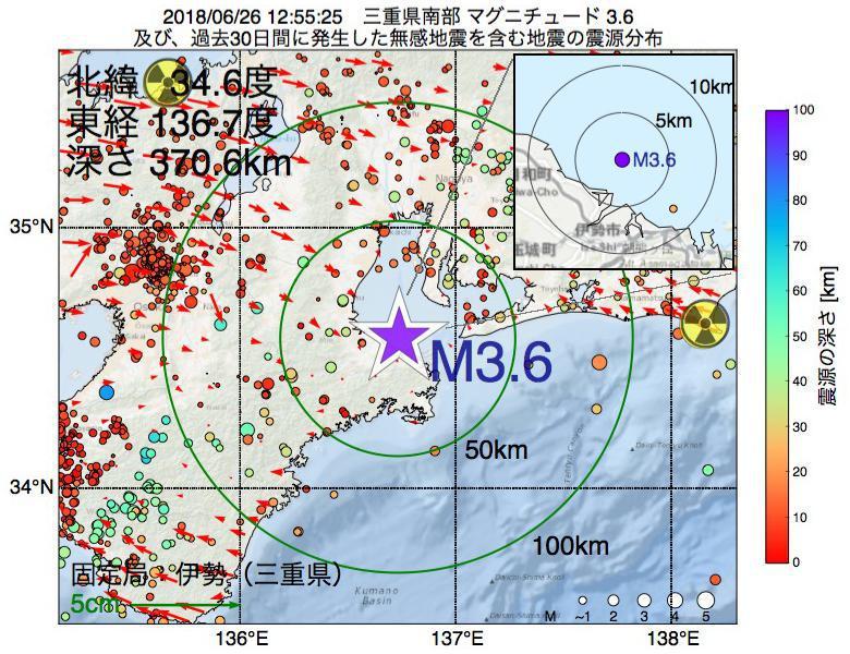 地震震源マップ:2018年06月26日 12時55分 三重県南部でM3.6の地震
