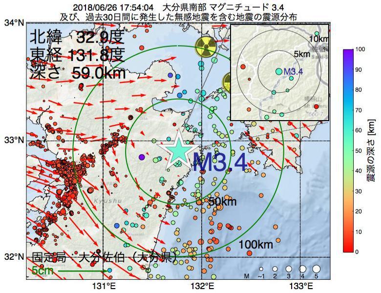 地震震源マップ:2018年06月26日 17時54分 大分県南部でM3.4の地震