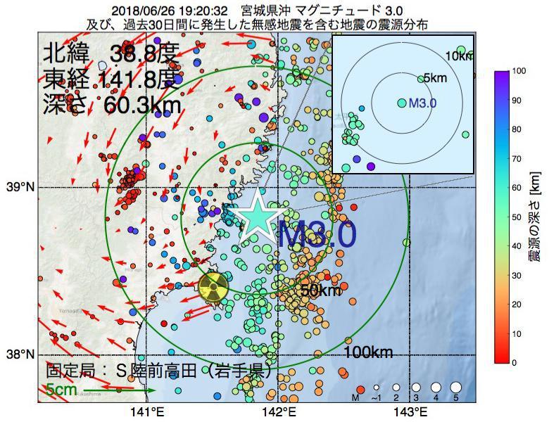 地震震源マップ:2018年06月26日 19時20分 宮城県沖でM3.0の地震