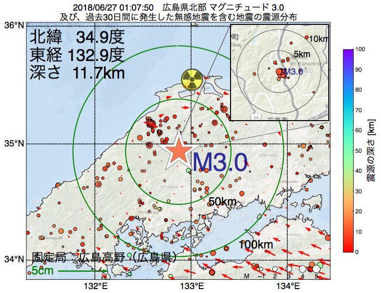 地震震源マップ:2018年06月27日 01時07分 広島県北部でM3.0の地震
