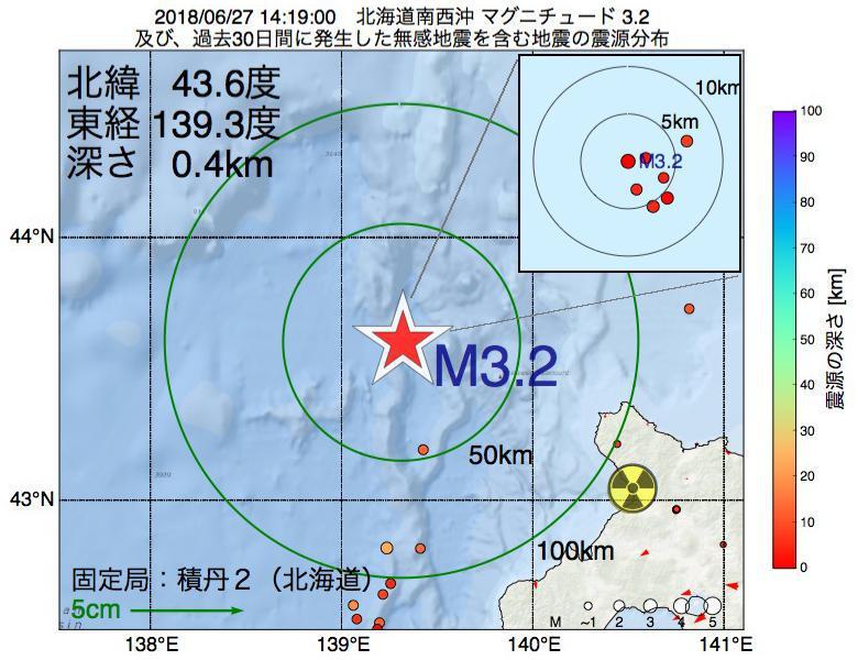 地震震源マップ:2018年06月27日 14時19分 北海道南西沖でM3.2の地震