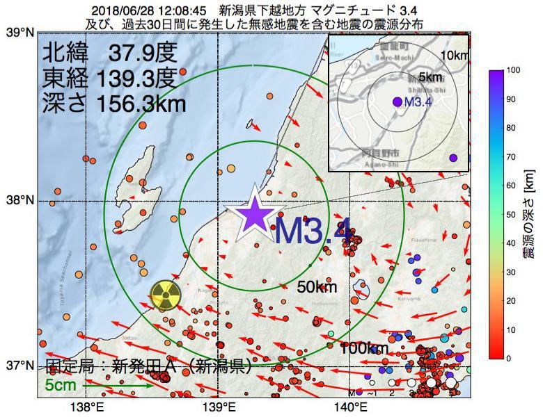 地震震源マップ:2018年06月28日 12時08分 新潟県下越地方でM3.4の地震