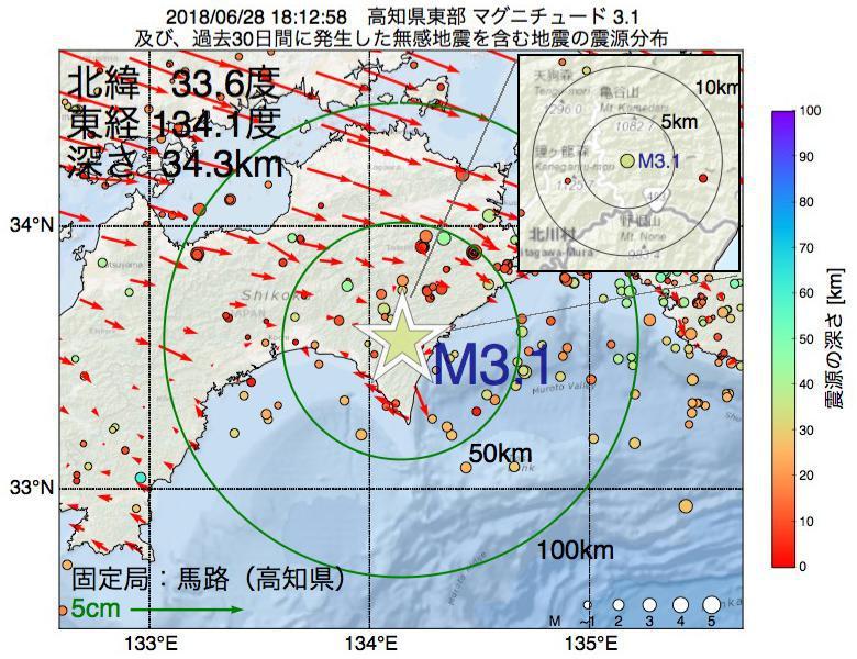 地震震源マップ:2018年06月28日 18時12分 高知県東部でM3.1の地震