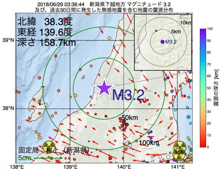 地震震源マップ:2018年06月29日 03時36分 新潟県下越地方でM3.2の地震