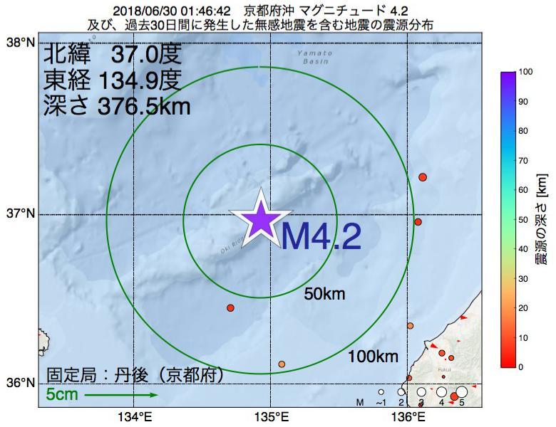 地震震源マップ:2018年06月30日 01時46分 京都府沖でM4.2の地震