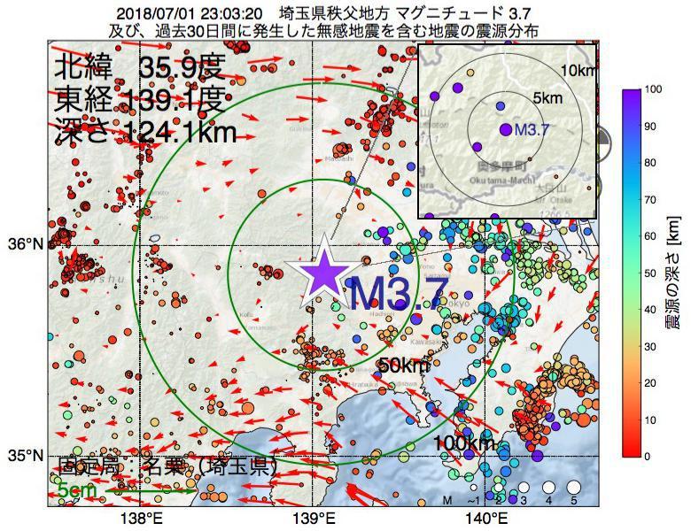 地震震源マップ:2018年07月01日 23時03分 埼玉県秩父地方でM3.7の地震