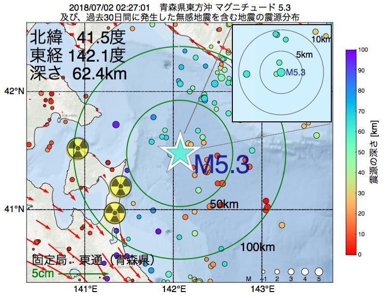 地震震源マップ:2018年07月02日 02時27分 青森県東方沖でM5.3の地震