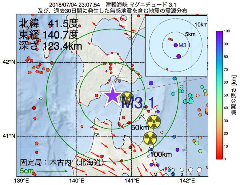 地震震源マップ:2018年07月04日 23時07分 津軽海峡でM3.1の地震