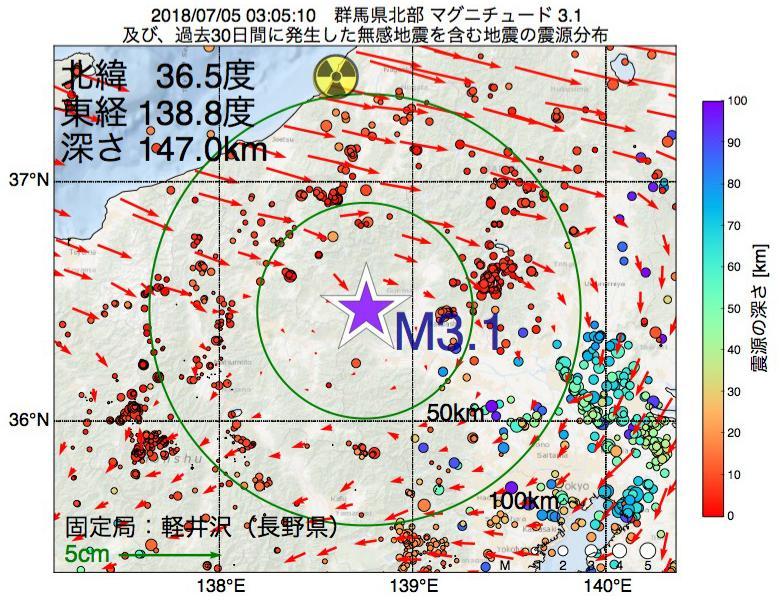 地震震源マップ:2018年07月05日 03時05分 群馬県北部でM3.1の地震