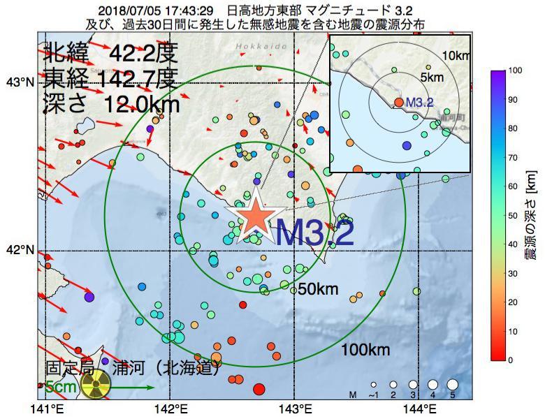 地震震源マップ:2018年07月05日 17時43分 日高地方東部でM3.2の地震
