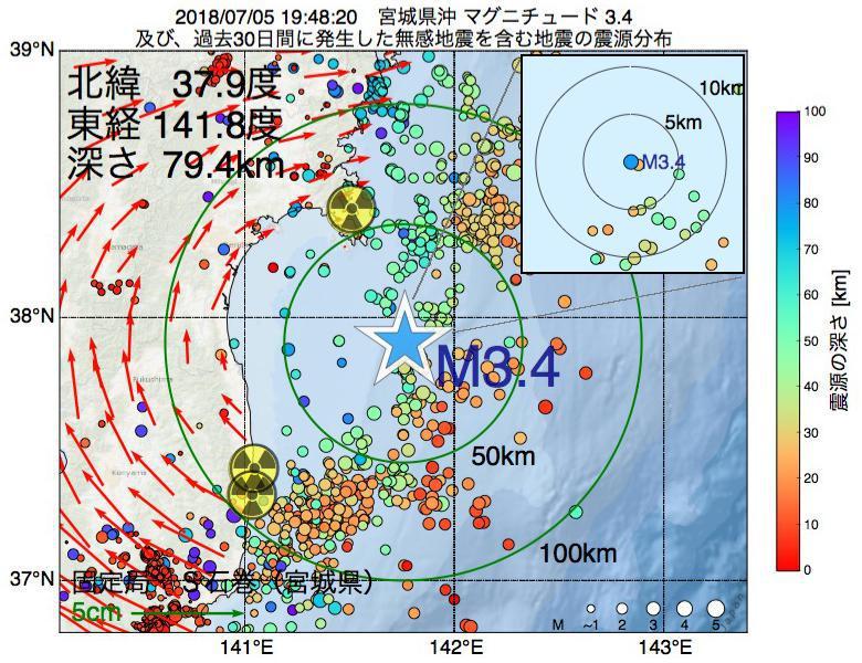 地震震源マップ:2018年07月05日 19時48分 宮城県沖でM3.4の地震
