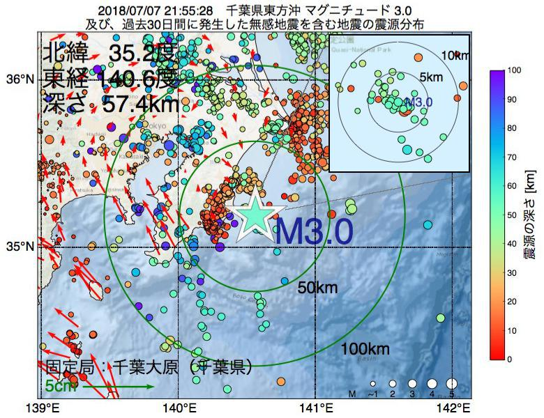 地震震源マップ:2018年07月07日 21時55分 千葉県東方沖でM3.0の地震