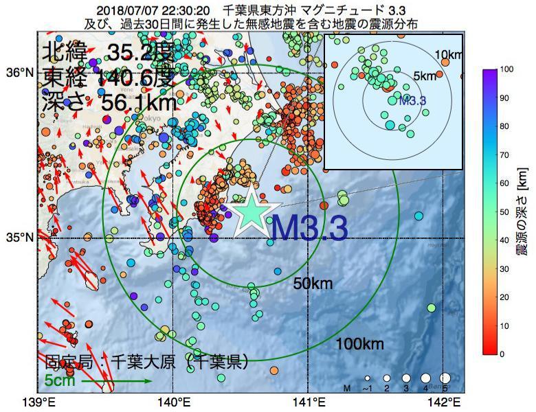 地震震源マップ:2018年07月07日 22時30分 千葉県東方沖でM3.3の地震