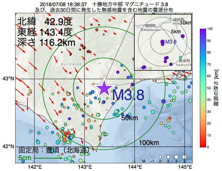 地震震源マップ:2018年07月08日 18時38分 十勝地方中部でM3.8の地震