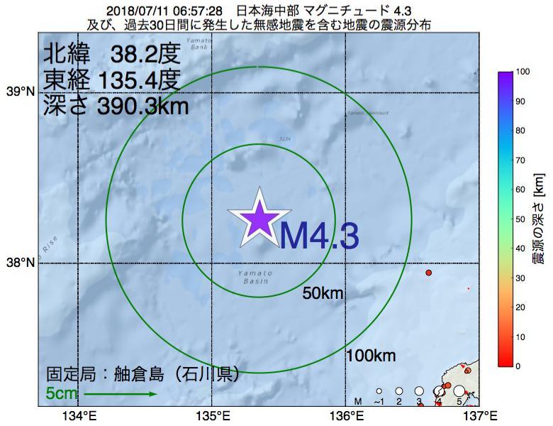 地震震源マップ:2018年07月11日 06時57分 日本海中部でM4.3の地震