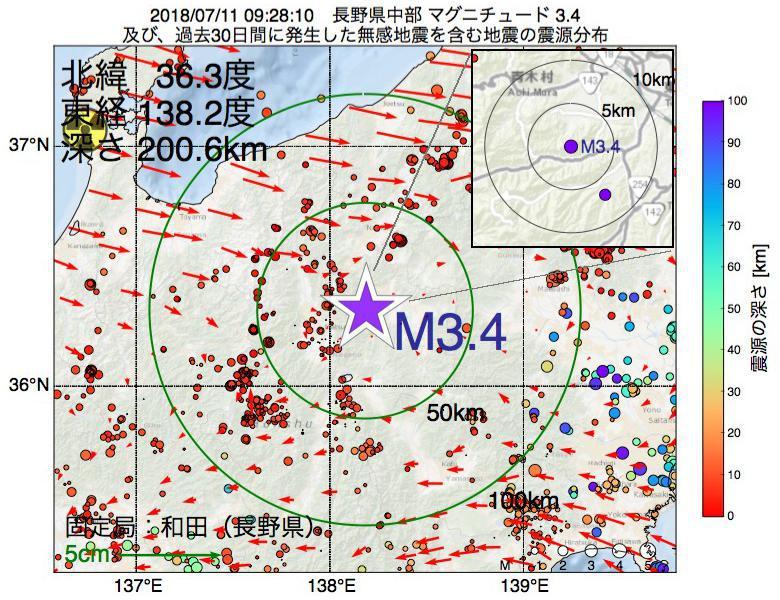 地震震源マップ:2018年07月11日 09時28分 長野県中部でM3.4の地震