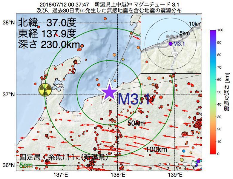 地震震源マップ:2018年07月12日 00時37分 新潟県上中越沖でM3.1の地震