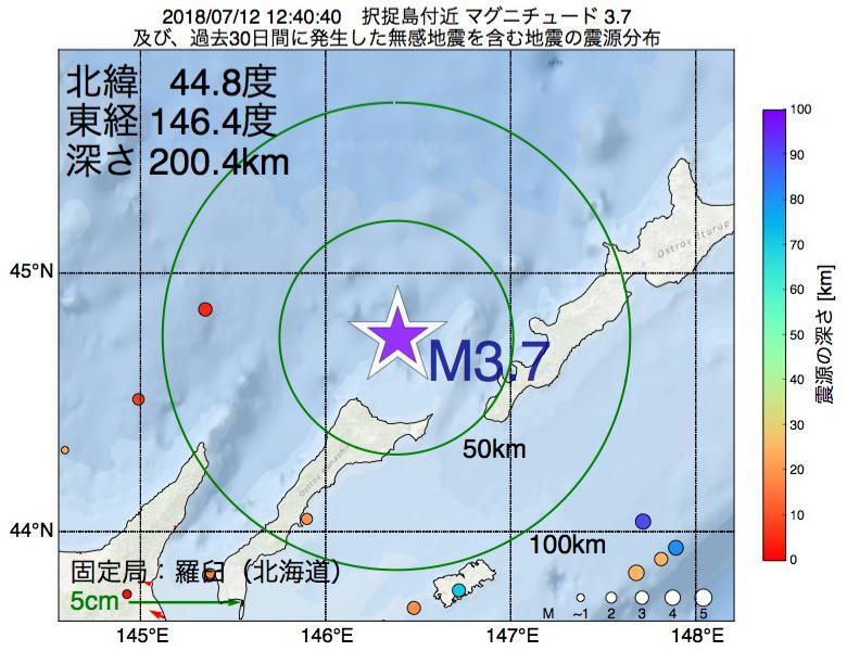 地震震源マップ:2018年07月12日 12時40分 択捉島付近でM3.7の地震