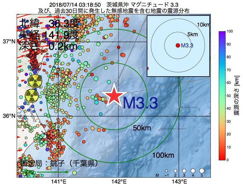 地震震源マップ:2018年07月14日 03時18分 茨城県沖でM3.3の地震