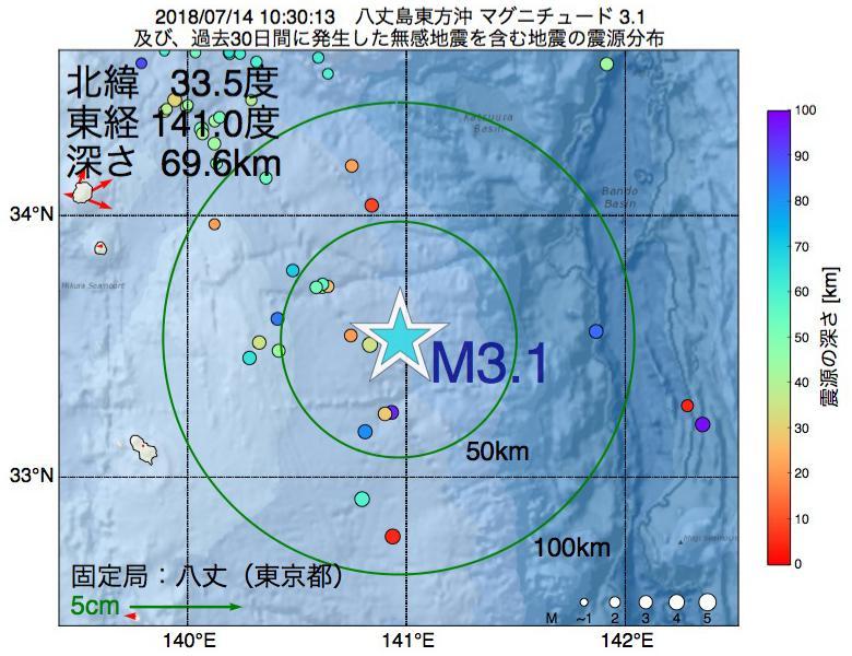 地震震源マップ:2018年07月14日 10時30分 八丈島東方沖でM3.1の地震