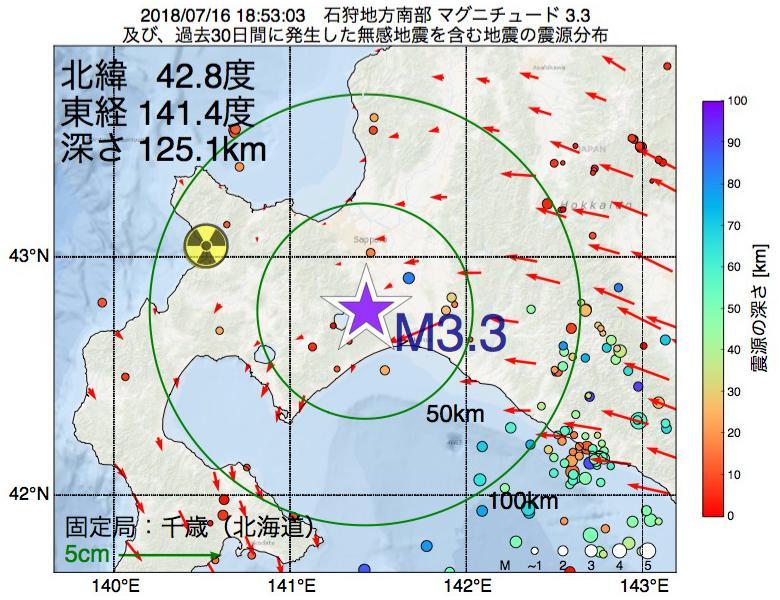 地震震源マップ:2018年07月16日 18時53分 石狩地方南部でM3.3の地震