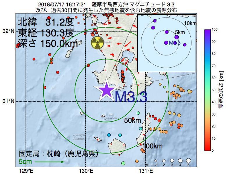 地震震源マップ:2018年07月17日 16時17分 薩摩半島西方沖でM3.3の地震