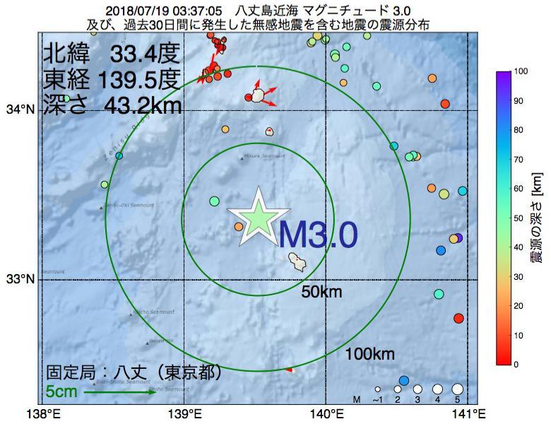 地震震源マップ:2018年07月19日 03時37分 八丈島近海でM3.0の地震