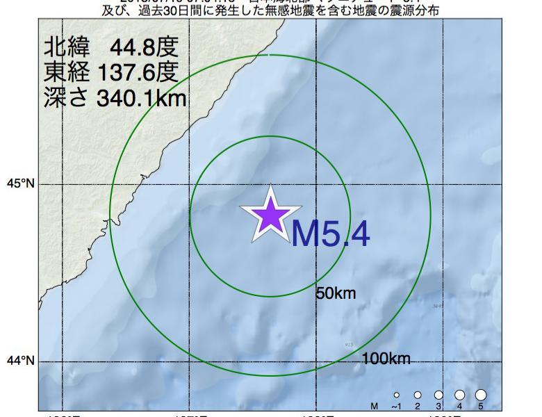 地震震源マップ:2018年07月19日 07時04分 日本海北部でM5.4の地震