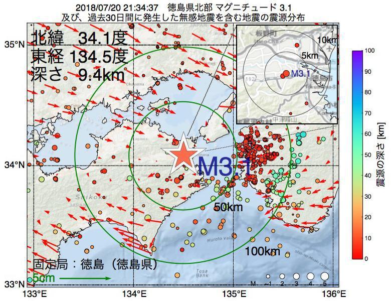 地震震源マップ:2018年07月20日 21時34分 徳島県北部でM3.1の地震