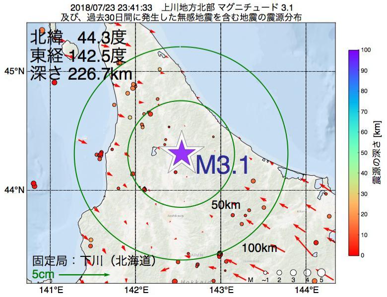 地震震源マップ:2018年07月23日 23時41分 上川地方北部でM3.1の地震