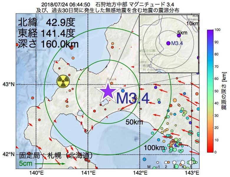 地震震源マップ:2018年07月24日 06時44分 石狩地方中部でM3.4の地震