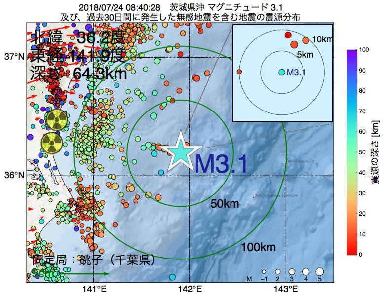地震震源マップ:2018年07月24日 08時40分 茨城県沖でM3.1の地震