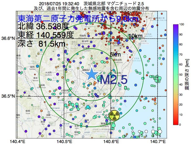 地震震源マップ:東海第二原子力発電所から9.0km地点でM2.5の地震が発生しました