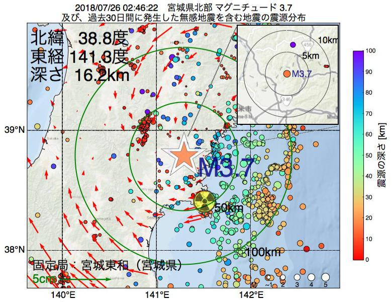 地震震源マップ:2018年07月26日 02時46分 宮城県北部でM3.7の地震